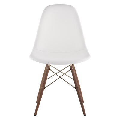 Dowel Genuine Leather Upholstered Dining Chair Upholstery: Milano White, Finish: Walnut