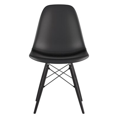 Dowel Genuine Leather Upholstered Dining Chair Upholstery: Milano Black, Finish: Black