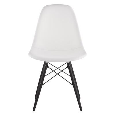 Dowel Genuine Leather Upholstered Dining Chair Upholstery: Milano White, Finish: Black