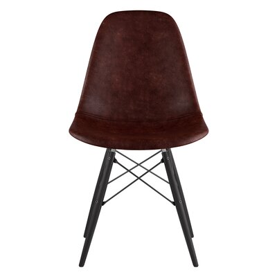 Dowel Genuine Leather Upholstered Dining Chair Upholstery: Aged Cognac, Finish: Black