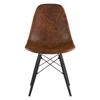 Dowel Genuine Leather Upholstered Dining Chair Upholstery: Weathered Whiskey, Finish: Black