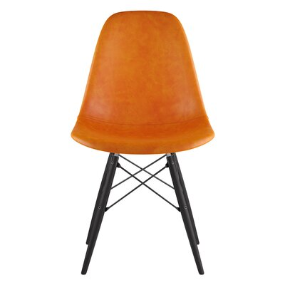 Dowel Genuine Leather Upholstered Dining Chair Upholstery: Burnt Orange, Finish: Black
