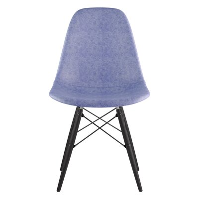 Dowel Genuine Leather Upholstered Dining Chair Upholstery: Weathered Blue, Finish: Black