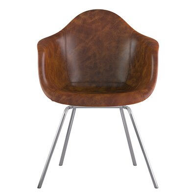 Classroom Genuine Leather Upholstered Dining Chair Seat Color: Weathered Whiskey, Leg Finish: Nickel