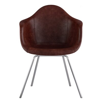 Classroom Genuine Leather Upholstered Dining Chair Seat Color: Aged Cognac, Leg Finish: Nickel