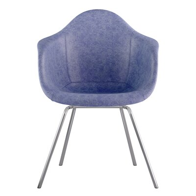 Classroom Genuine Leather Upholstered Dining Chair Seat Color: Weathered Blue, Leg Finish: Nickel
