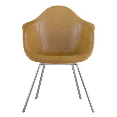 Classroom Genuine Leather Upholstered Dining Chair Seat Color: Aged Maple, Leg Finish: Nickel