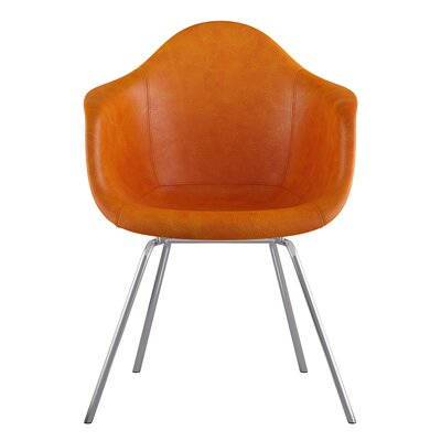 Classroom Genuine Leather Upholstered Dining Chair Seat Color: Burnt Orange, Leg Finish: Nickel