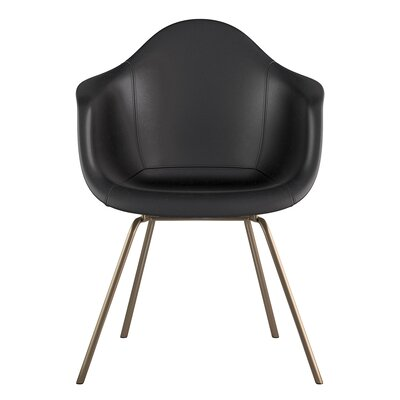 Classroom Genuine Leather Upholstered Dining Chair Upholstery: Milano Black, Leg Finish: Brass