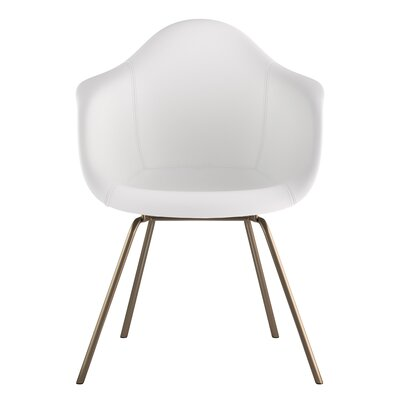 Classroom Genuine Leather Upholstered Dining Chair Upholstery: Milano White, Leg Finish: Brass