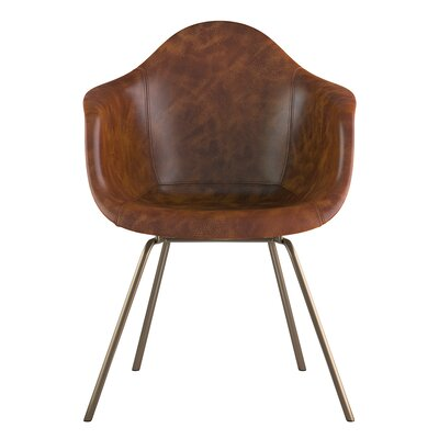 Classroom Genuine Leather Upholstered Dining Chair Seat Color: Weathered Whiskey, Leg Finish: Brass