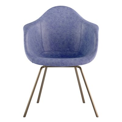 Classroom Genuine Leather Upholstered Dining Chair Seat Color: Weathered Blue, Leg Finish: Brass