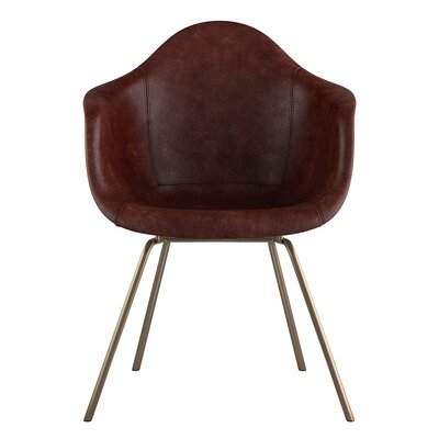Classroom Genuine Leather Upholstered Dining Chair Seat Color: Aged Cognac, Leg Finish: Brass