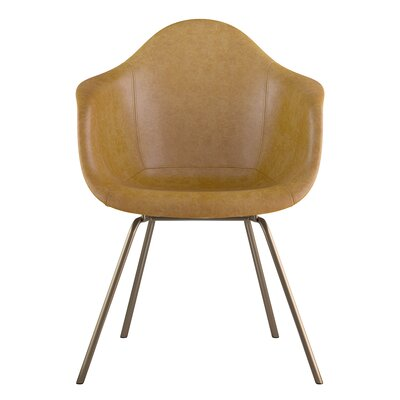 Classroom Genuine Leather Upholstered Dining Chair Seat Color: Aged Maple, Leg Finish: Brass