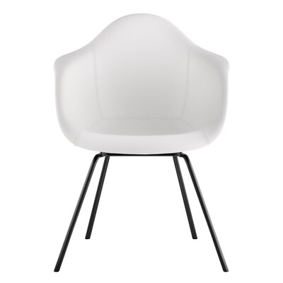 Classroom Genuine Leather Upholstered Dining Chair Seat Color: Milano White, Leg Finish: Gunmetal