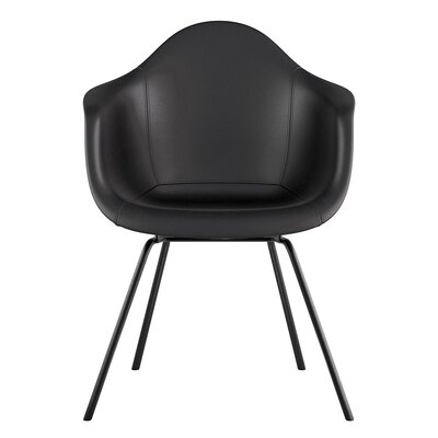 Classroom Genuine Leather Upholstered Dining Chair Seat Color: Milano Black, Leg Finish: Gunmetal