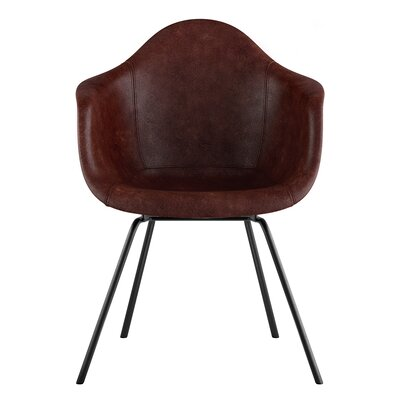 Classroom Genuine Leather Upholstered Dining Chair Seat Color: Aged Cognac, Leg Finish: Gunmetal