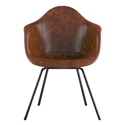 Classroom Genuine Leather Upholstered Dining Chair Seat Color: Weathered Whiskey, Leg Finish: Gunmetal