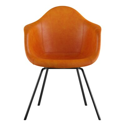 Classroom Genuine Leather Upholstered Dining Chair Upholstery: Burnt Orange, Leg Finish: Gunmetal