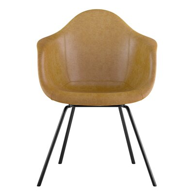 Classroom Genuine Leather Upholstered Dining Chair Seat Color: Aged Maple, Leg Finish: Gunmetal