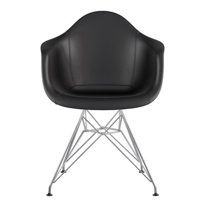 Eiffel Genuine Leather Upholstered Dining Chair Upholstery: Milano Black, Base Finish: Nickel