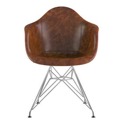 Eiffel Arm Chair Seat Color: Weathered Whiskey, Base Finish: Nickel