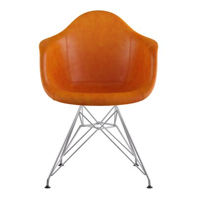 Eiffel Genuine Leather Upholstered Dining Chair Upholstery: Burnt Orange, Base Finish: Nickel