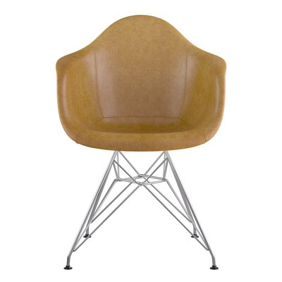 Eiffel Arm Chair Seat Color: Aged Maple, Base Finish: Nickel