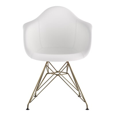 Eiffel Genuine Leather Upholstered Dining Chair Seat Color: Milano White, Base Finish: Brass