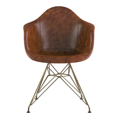 Eiffel Genuine Leather Upholstered Dining Chair Seat Color: Weathered Whiskey, Base Finish: Brass