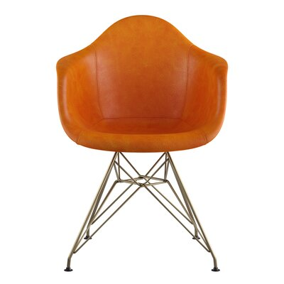 Eiffel Genuine Leather Upholstered Dining Chair Seat Color: Burnt Orange, Base Finish: Brass