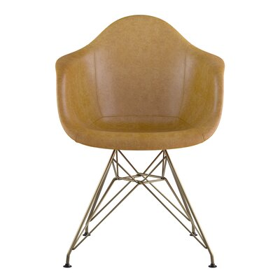 Eiffel Genuine Leather Upholstered Dining Chair Seat Color: Aged Cognac, Base Finish: Brass