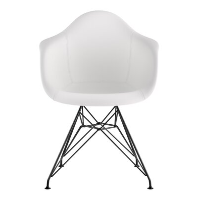 Eiffel Genuine Leather Upholstered Dining Chair Upholstery: Milano White, Base Finish: Gunmetal