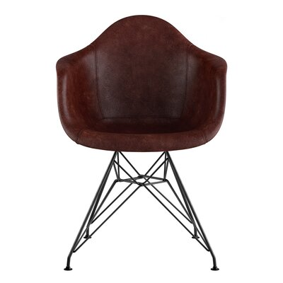 Eiffel Genuine Leather Upholstered Dining Chair Seat Color: Aged Cognac, Base Finish: Gunmetal