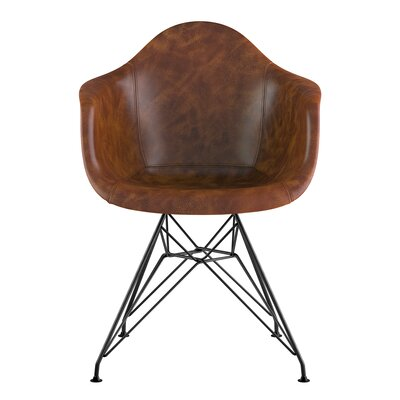 Eiffel Genuine Leather Upholstered Dining Chair Seat Color: Weathered Whiskey, Base Finish: Gunmetal