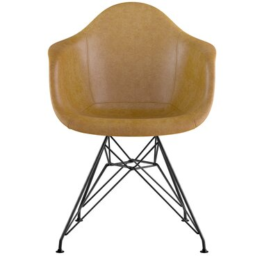 Eiffel Genuine Leather Upholstered Dining Chair Seat Color: Aged Maple, Base Finish: Gunmetal