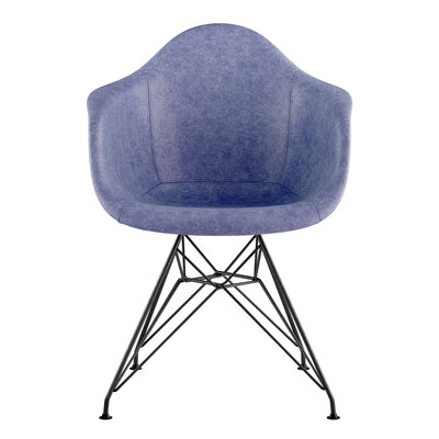 Eiffel Genuine Leather Upholstered Dining Chair Upholstery: Weathered Blue, Base Finish: Gunmetal