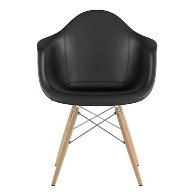 Dowel Arm Chair Upholstery: Milano Black, Finish: Natural