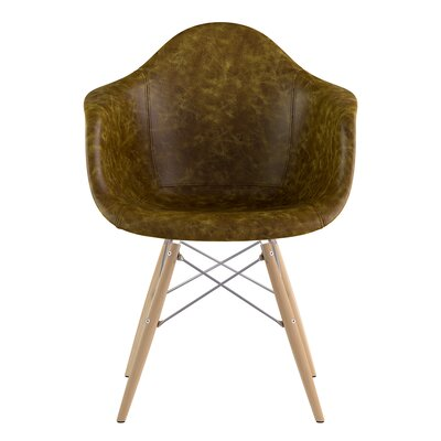 Dowel Arm Chair Upholstery: Palermo Olive, Finish: Natural