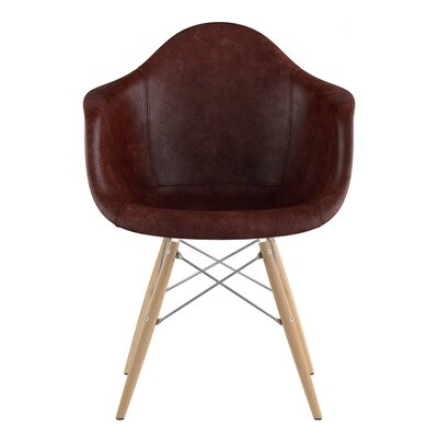 Dowel Arm Chair Upholstery: Aged Cognac, Finish: Natural
