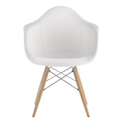 Dowel Arm Chair Upholstery: Milano White, Finish: Natural