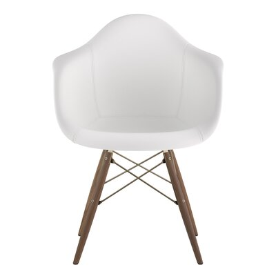 Dowel Arm Chair Upholstery: Milano White, Finish: Walnut