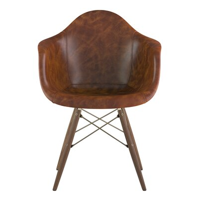 Dowel Arm Chair Upholstery: Weathered Whiskey, Finish: Walnut