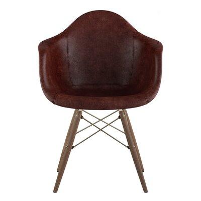 Dowel Arm Chair Upholstery: Aged Cognac, Finish: Walnut