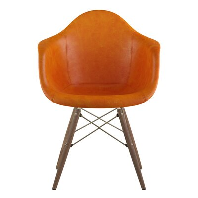 Dowel Arm Chair Upholstery: Burnt Orange, Finish: Walnut