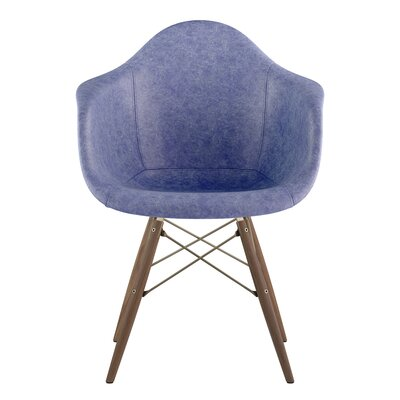 Dowel Arm Chair Upholstery: Weathered Blue, Finish: Walnut