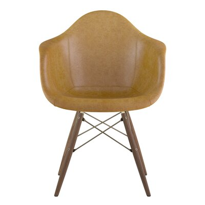 Dowel Genuine Leather Upholstered Dining Chair Upholstery: Aged Maple, Finish: Walnut