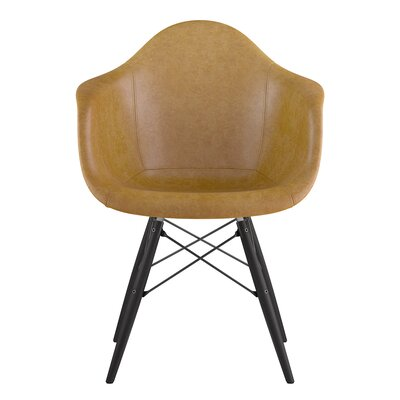 Dowel Genuine Leather Upholstered Dining Chair Upholstery: Burnt Orange, Finish: Natural