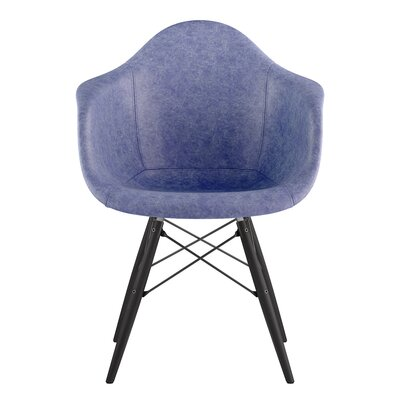 Dowel Arm Chair Upholstery: Weathered Blue, Finish: Gunmetal