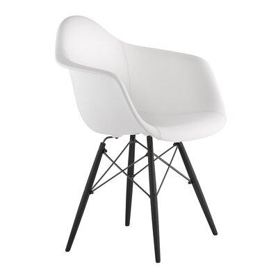 Dowel Arm Chair Upholstery: Milano White, Finish: Gunmetal